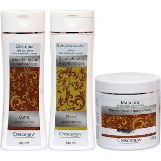 Kit shampoo, condicionador e máscara extrato de ostra para cabelos