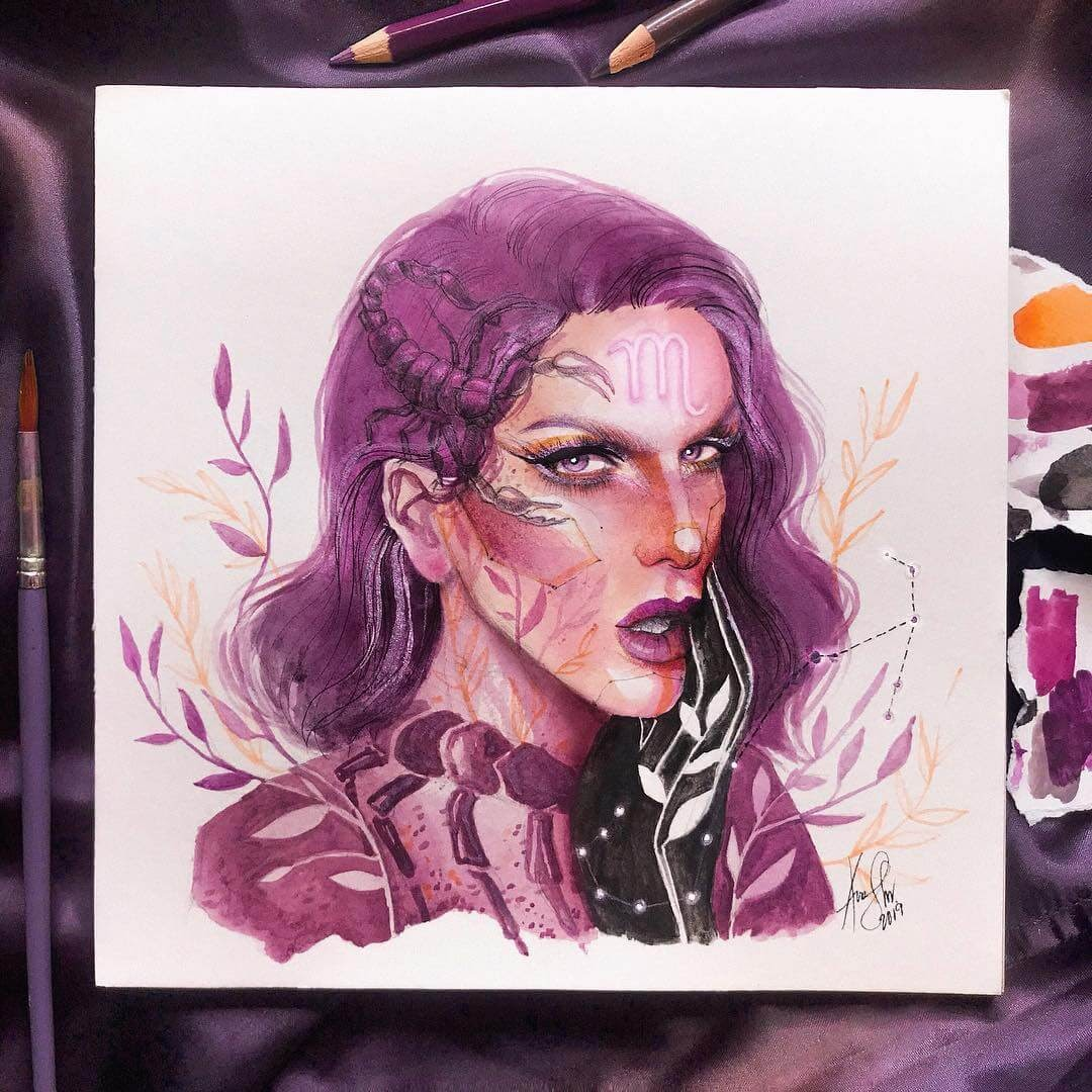 11-Scorpio-ft-Jeffree-Star-A-Manguba-Drawings-of-Celebrities-and-the-Zodiac-www-designstack-co