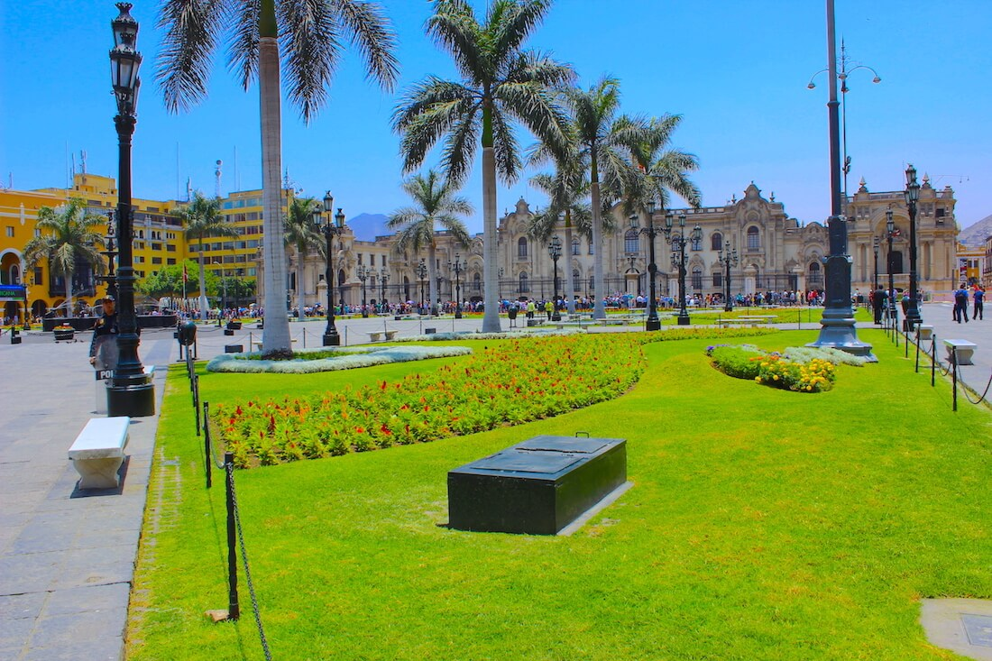 government building and gardens in lima