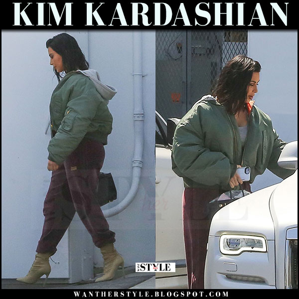 Kim Kardashian in green vetements bomber jacket and burgundy velour sweatpants adidas what she wore april 2017