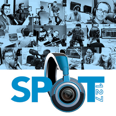 montage of spot 127 images of teens working in media studios, and spot 127 logo
