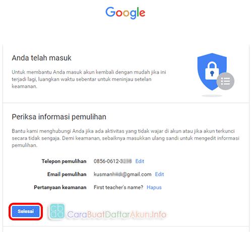 cara ganti kata sandi gmail di hp - opsi email pemulihan akun
