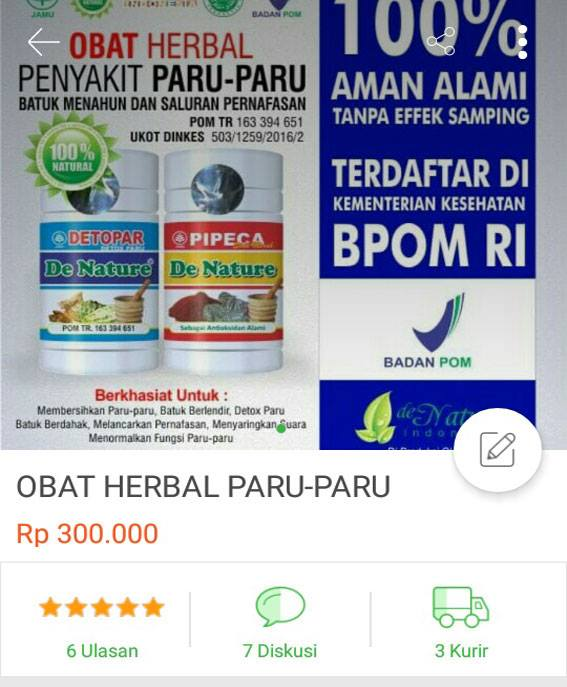 Testimoni Obat Paru Paru Herbal de Nature