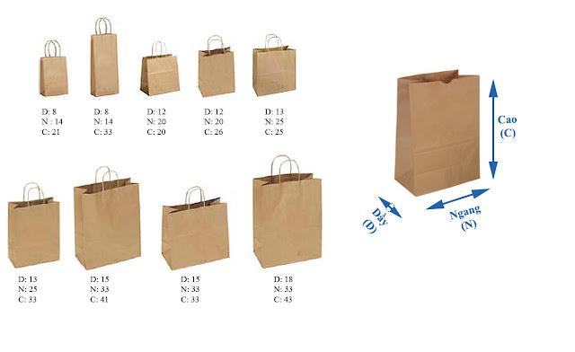 kích thước của mẫu túi giấy kraft