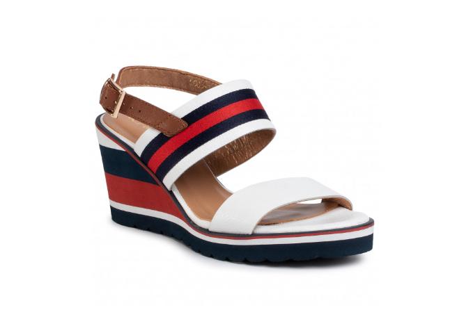 Sandale albe cu platforma piele naturala moderne de firma R.POLAŃSKI