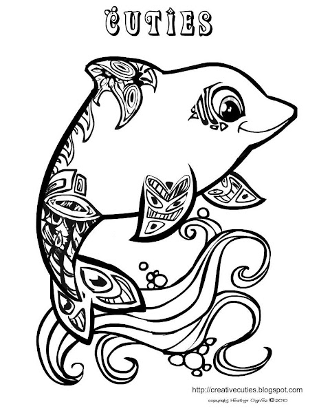 hard dolphin coloring pages - photo#6
