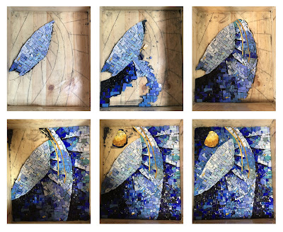 abstract spiral mosaic smalti progress orsoni glass sun yellow blue italian italy