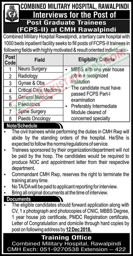 Latest Vacancies Announced in Combined Military Hospital CMH Rawalpindi 7 December 2018 - Naya Pakistan