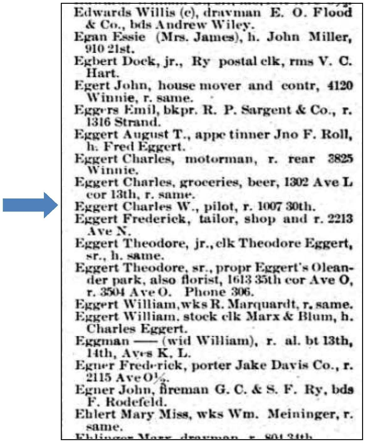 Ancestorpuzzles william c eggert pilot and ship captain 1895 galveston city directory aiddatafo Choice Image
