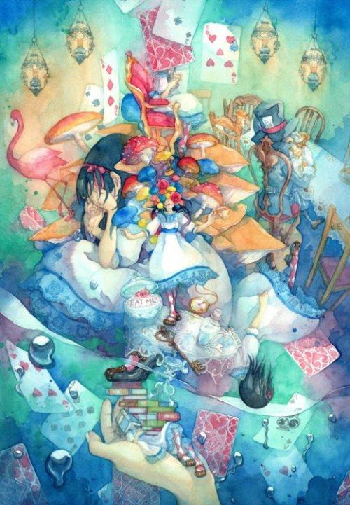 Taupe Syuka deviantart pinturas tradicionais sonhos surreais alice wonderland
