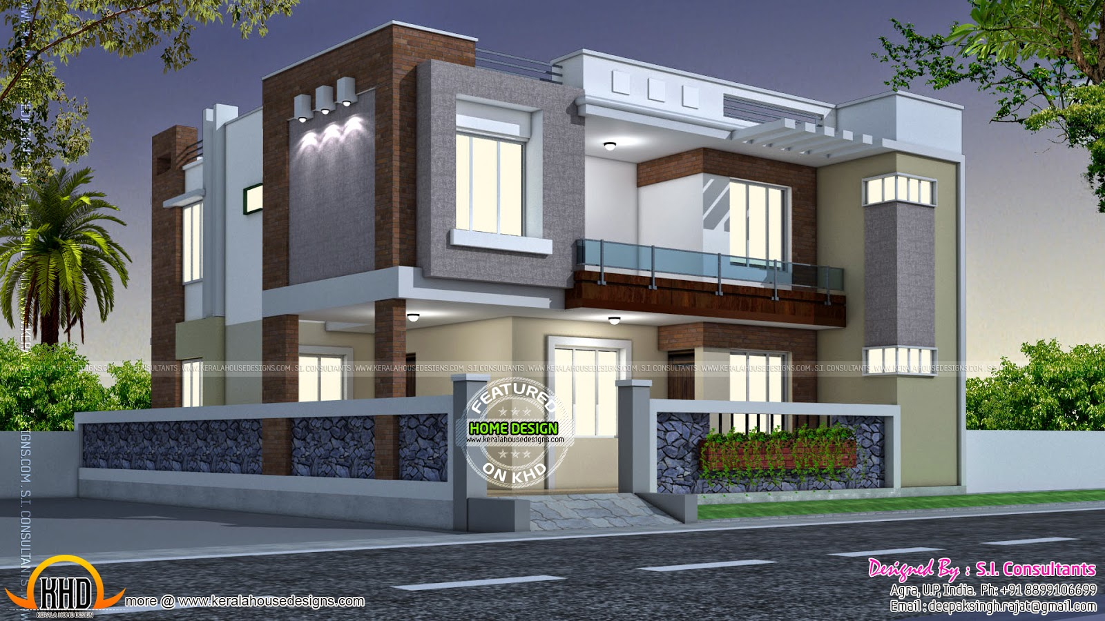 Modern style indian home kerala home design and floor plans for Front view of duplex house in india