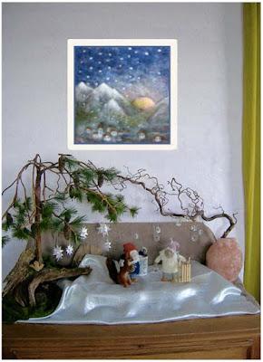 Jahreszeitentisch im Januar, Jahreszeitendeko Winter, Jahreszeitentisch im Winter, Swarovski Kristall Eiskristall, Fröbelsterne, Deko Waldorfkindergarten, Zwergenkommode