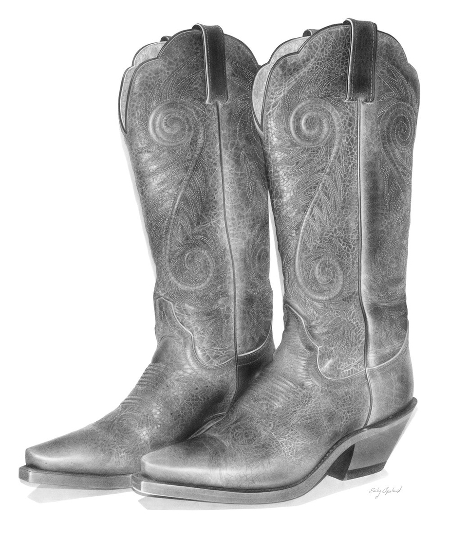 12-Cowboy-Boots-Emily-Copeland-Vintage-and-Retro-Objects-in-Photo-Realistic-Drawings-www-designstack-co