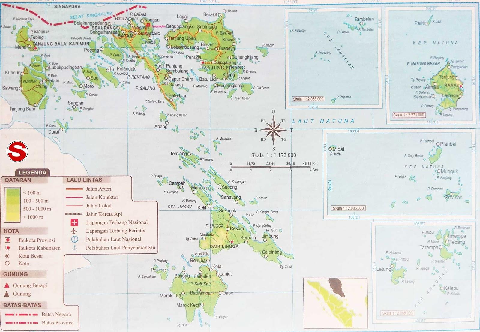 Peta Provinsi Kepulauan Riau di bawah ini mencakup peta dataran Peta Atlas Provinsi Kepulauan Riau Lengkap