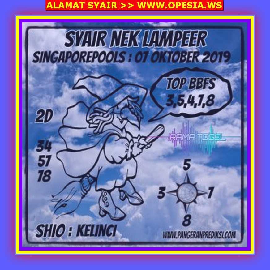 Kode syair Singapore Rabu 9 Oktober 2019 94