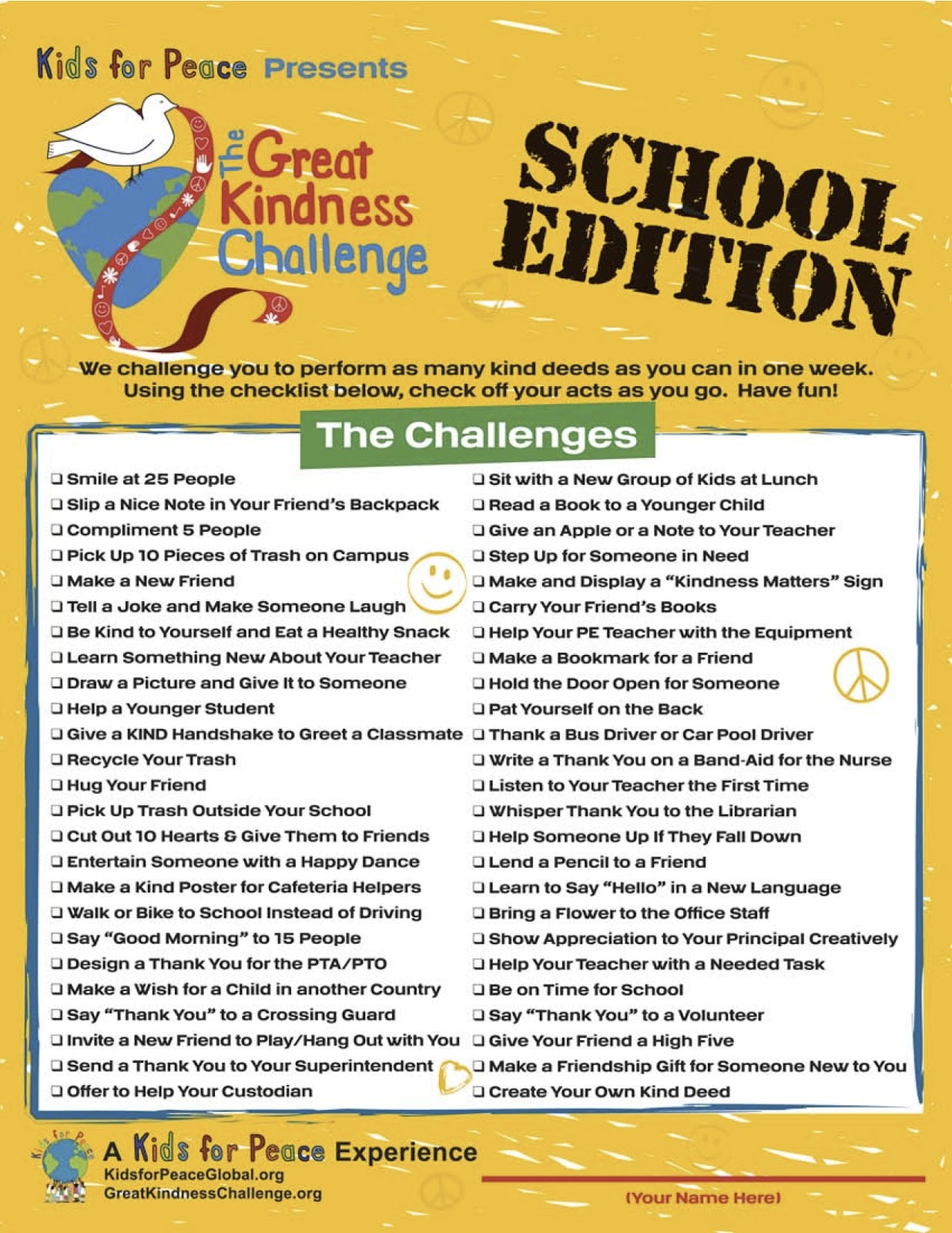 Mitchell School Counseling The Great Kindess Challenge