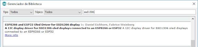 Biblioteca SSD1306 IDE Arduino ESP8266