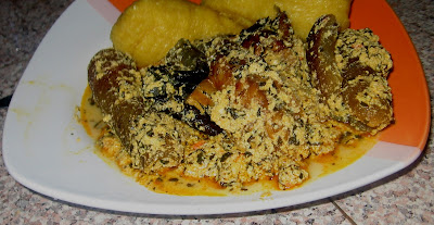 Egusi soup serving