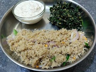 Anil Brand Kodo millet vermicilli Kichadi, Ponnaanganni greens poriyal, Coconut chutney