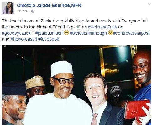 Omotola is angry with Mark Zuckerberg for not visiting her in Nigeria