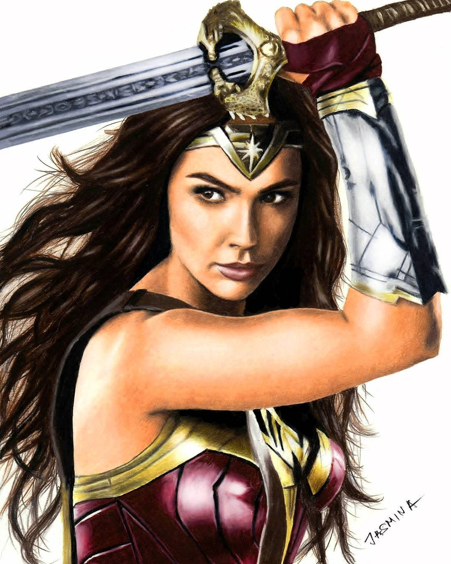 06-Wonder-Woman-Justice-League-Jasmina-Susak-Superheroes-and-Villains-in-2d-and-3d-Drawings-www-designstack-co