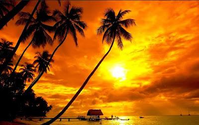 Gambar Terindah Pemandangan Alam Dunia Pantai Sore Hari Matahari Terbenam Sunset