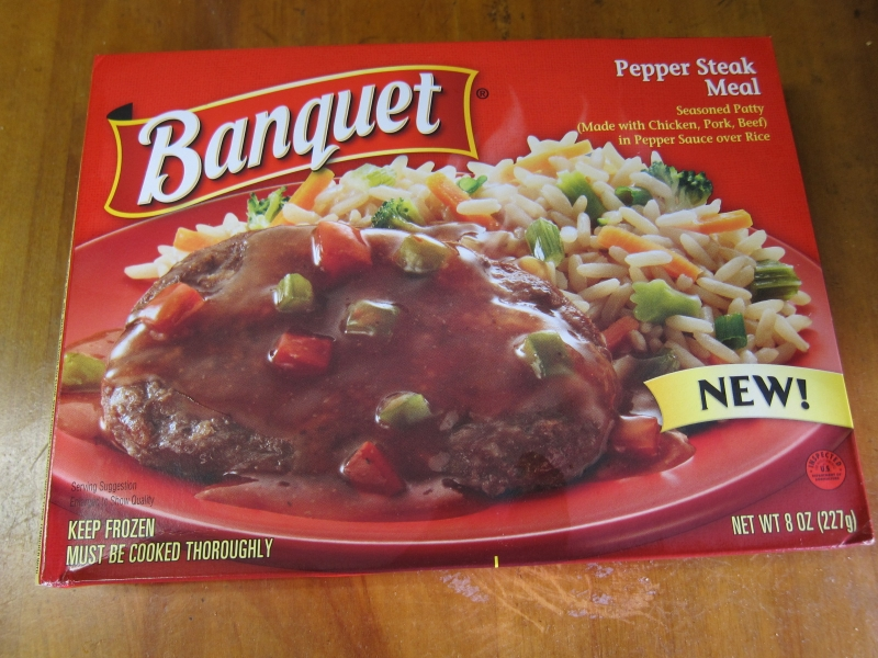 Frozen Friday Banquet Pepper Steak Meal Brand Eating