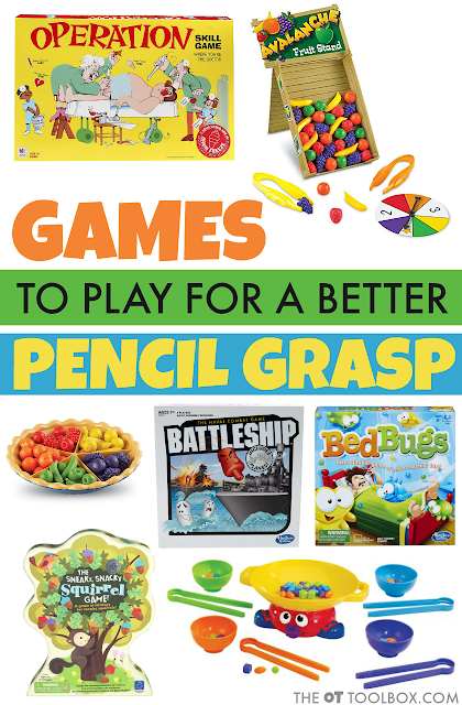 Add these games to improve pencil grasp to occupational therapy activities that help with fine motor skills and the skills needed for better handwriting and pencil grasp in kids.