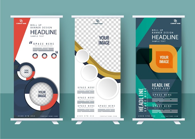 Business banner templates modern rolled up design Free vector