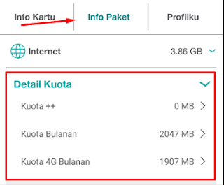 tekan menu info paket, untuk melihat informasi data internet tri anda
