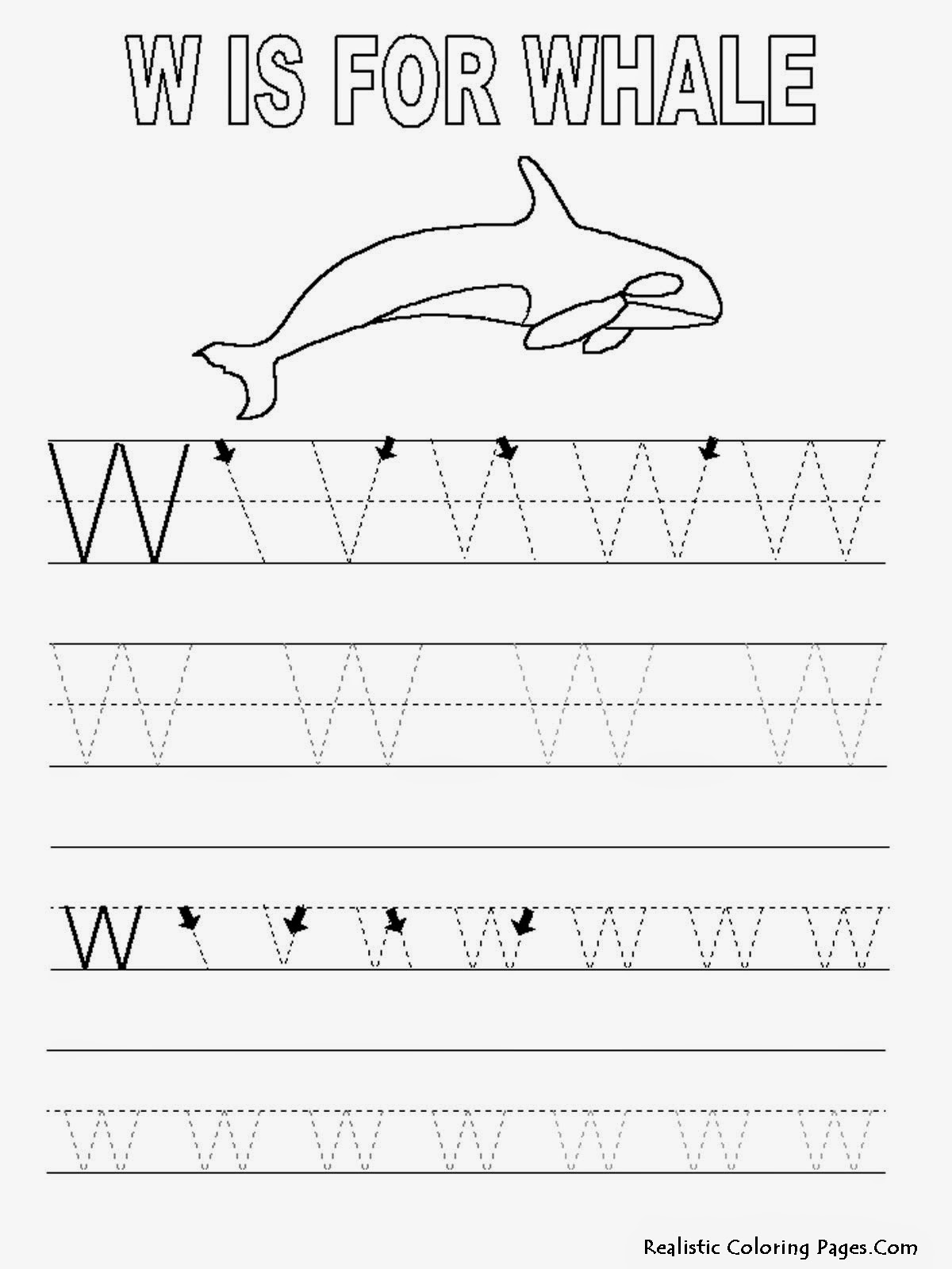 letter tracing pages w letters alphabet coloring sheet realistic coloring pages 23280 | Alphabet Tracer Pages W Whale