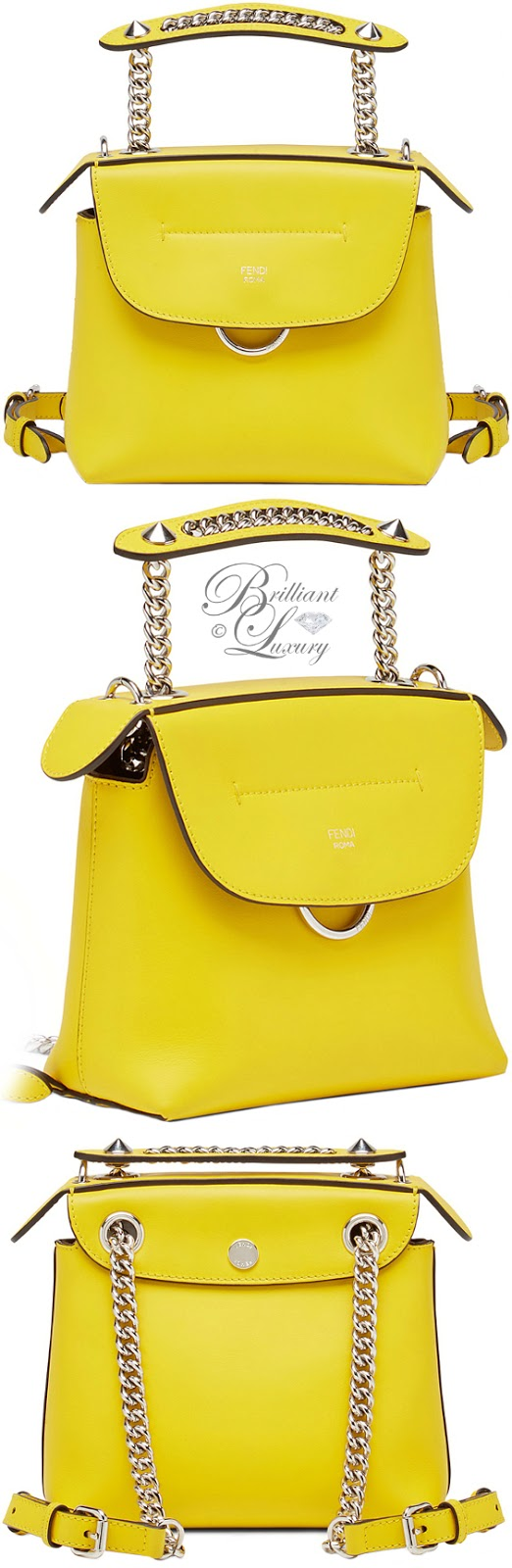 Brilliant Luxury ♦ Fendi mini yellow back to school backpack bag