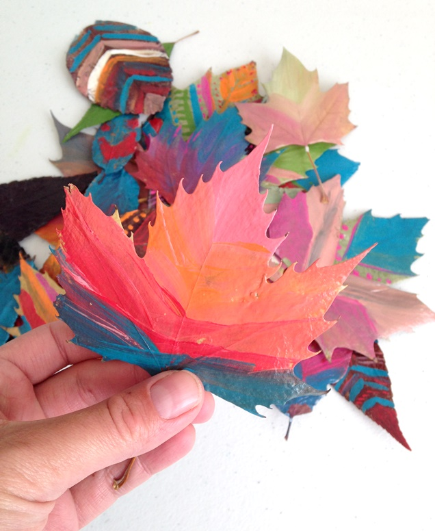 fall leaf crafts- painted leaves