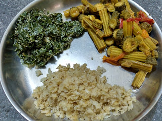 Wheat beaten (poha), Bitter gourd Drumstick curry, Moringa greens stew