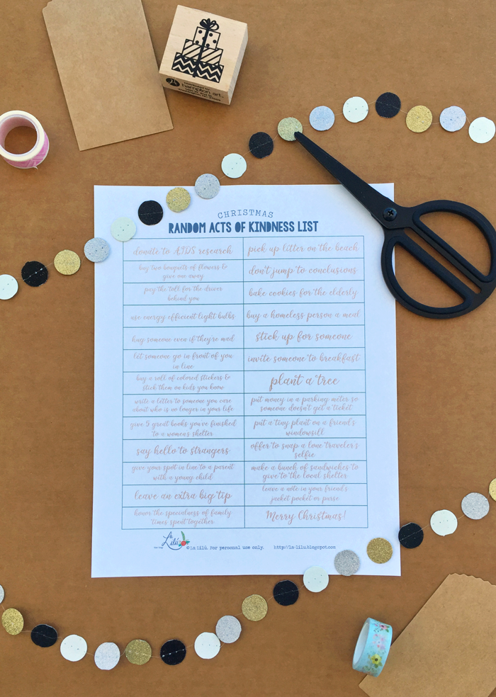 Random acts of kindness idea list, printable advent calendar, gingerbread houses, stationery, free download