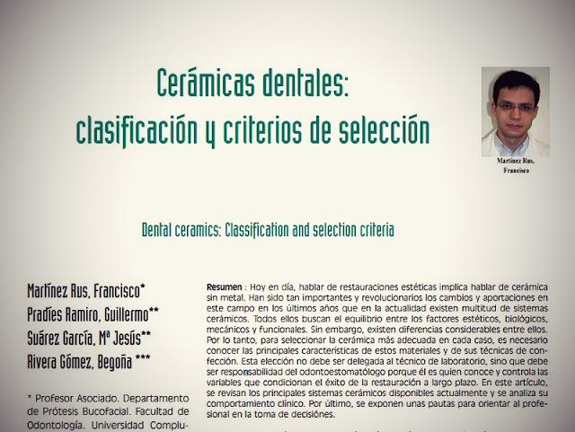 PDF: Cerámicas Dentales: Clasificación y criterios de selección