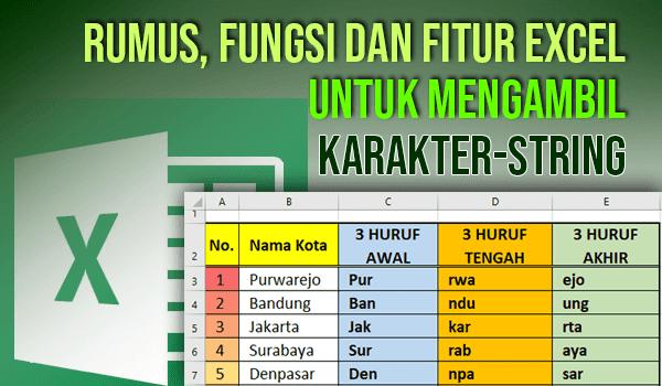 Rumus Excel untuk Mengambil Sebagian Karakter String