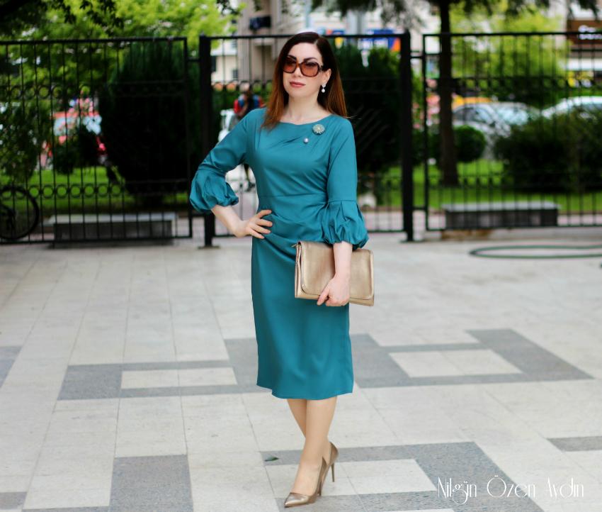 Balon kollu elbise-moda blogu