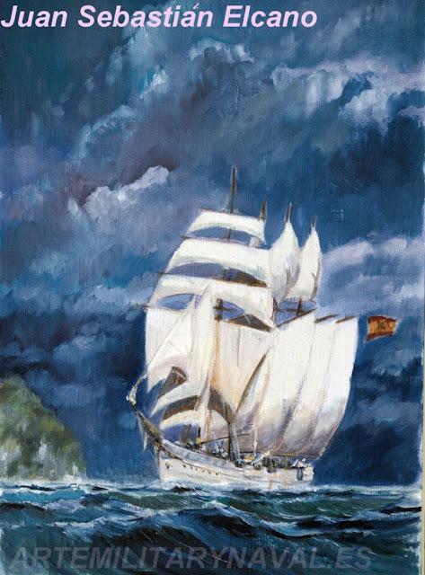 Pintura al oleo del buque Juan Sebastian Elcano