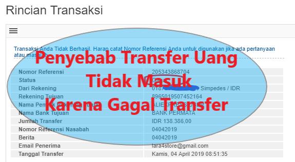 Penyebab Transfer Uang Tidak Masuk Karena Gagal Transfer