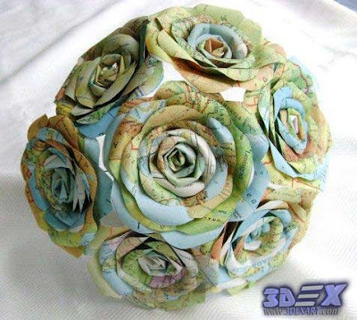 flower paper from maps, world map artwork, world map art decor for interior design