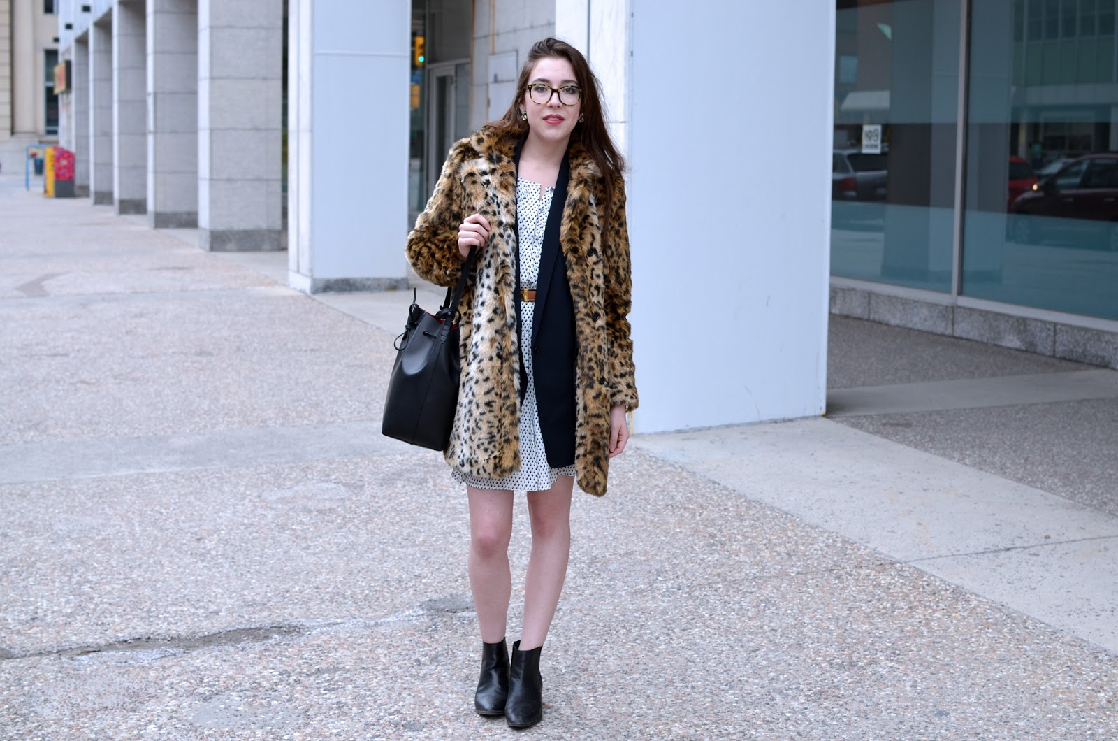 OOTD with a dress from Club Monaco, a Rag & Bone vest, Aritzia leopard coat, Mansur Gavriel bucket bag, and Zara Chelsea boots