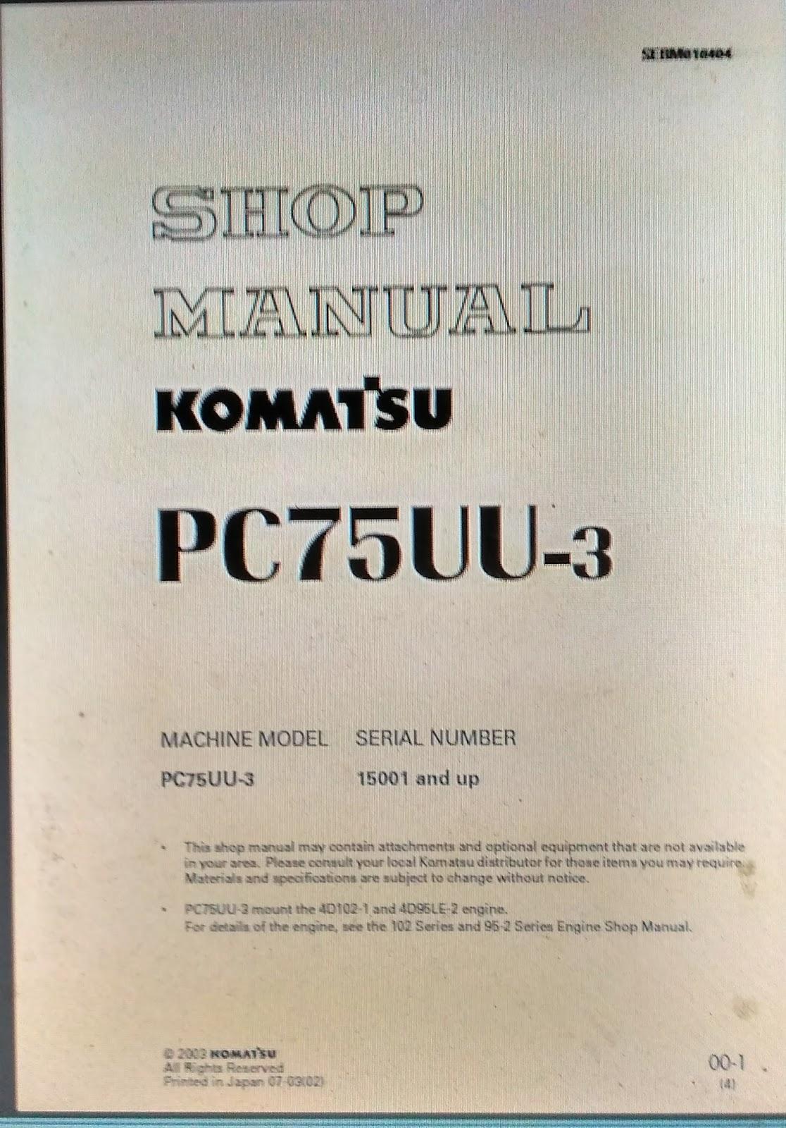 Shop Manual Komatsu Excavator Pc75uu 3 Berita Book 1 Wiring Diagram Tersedia Serta Menyediakan Parts Wheel Loader