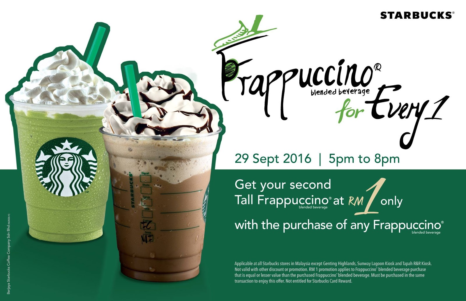 starbucks rm second tall sized frappuccino promotion pm pm  starbucks rm1 second tall sized frappuccino promotion 5pm 8pm 29 2016