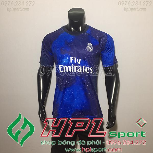 Áo bóng đá câu lạc bộ Real Traininh xanh