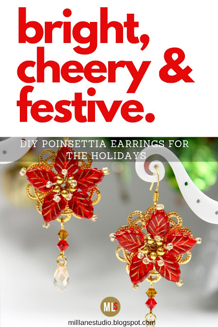Bright and cheery poinsettia earrings