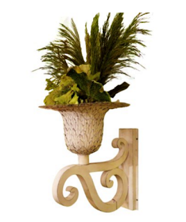Ornate White Iron Scroll Wall Mounted Planter