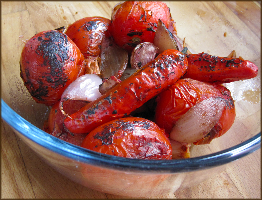 Charred tomatoes chillies and onions