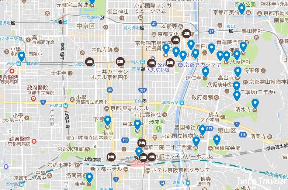 日本-京都-住宿-地圖-Map-景點-推薦-飯店-旅館-民宿-公寓-酒店-Kyoto-Hotel-Best-tourist-attraction-Japan
