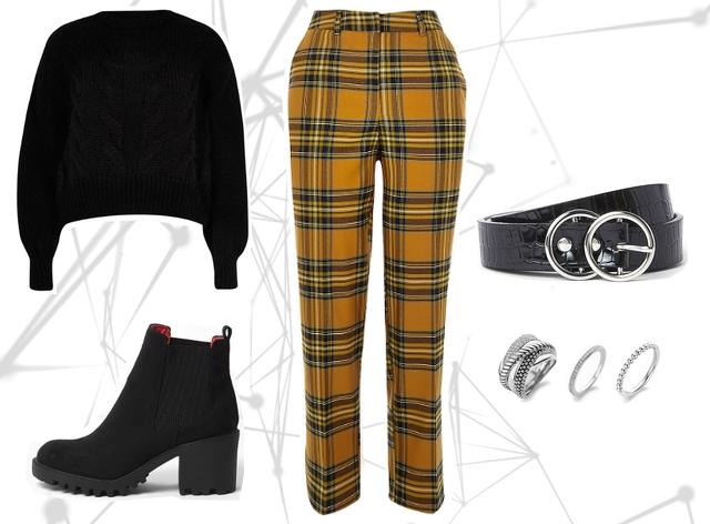 Want to wear blogger outfit inspiratie met gele geruite clueless pantalon broek en zwarte gebreide trui en enkellaarzen met stevige zool